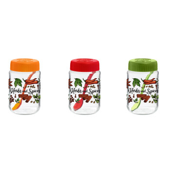 370 cc Decorated Spice Jar with Spoon