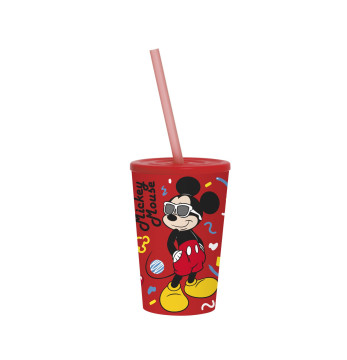 340 cc Licensed Cup with Straw-Mickey Mouse