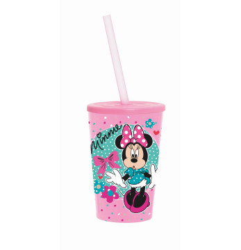 340 cc Licensed Cup with Straw-Minnie Dotty