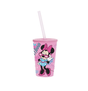 340 cc Licensed Cup with Straw-Minnie Mouse