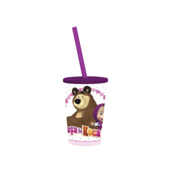340 cc Licensed Cup with Straw-Masha and the Bear