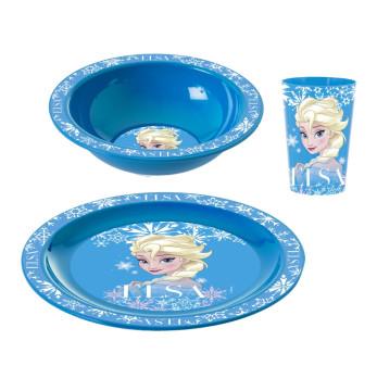 Desenli Plastik Kase-Tabak-Bardak Seti-Kahvaltı Seti-Elsa
