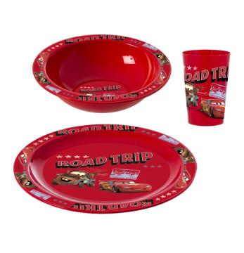 Desenli Plastik Kase-Tabak-Bardak Seti-Kahvaltı Seti-Cars