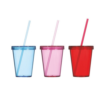 470 cc Tumbler with Straw - Mix Coloured