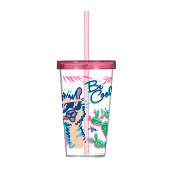 660 cc Decorated Tumbler with Straw - Be Cool