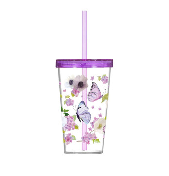 660 cc Decorated Tumbler with Straw-Butterfly