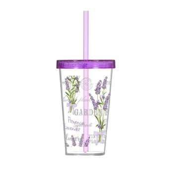 660 cc Decorated Tumbler with Straw-Lavender