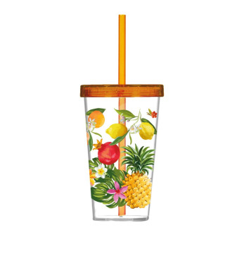 660 cc Decorated Tumbler with Straw-Fruits