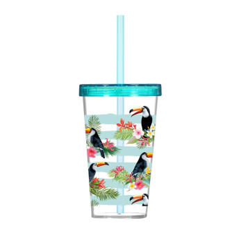 660 cc Decorated Tumbler with Straw-Tropical