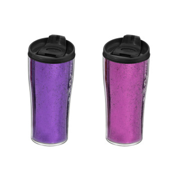 440 cc Decorated Coffee Mug - Pink & Purple Glitter Powder