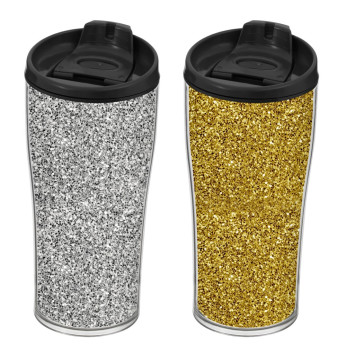 440 cc Coffee Mug - Silver & Gold Glitter Paper