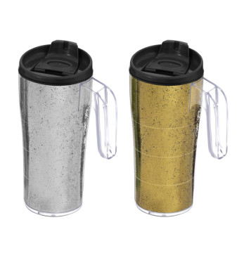 440 cc Coffee Mug with Handle - Silver & Gold Glitter Powder