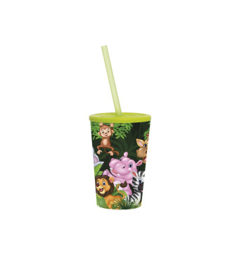 340 cc Cup with Straw - Green Animals