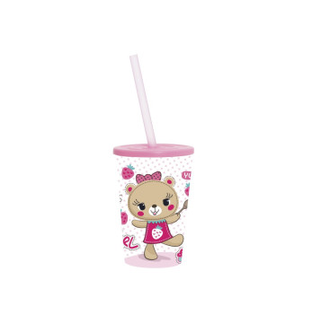 340 cc Cup with Straw - Pink Bear