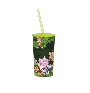 470 cc Tumbler with Straw - Green Animals