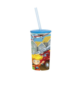 470 cc Tumbler with Straw - Cars