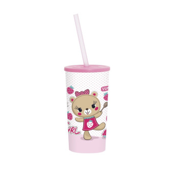 470 cc Tumbler with Straw - Pink Bear