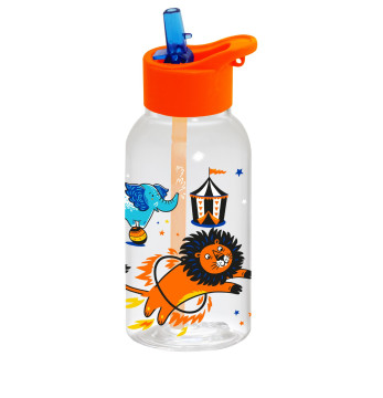 0,46 lt Decorated Water Bottle with Straw