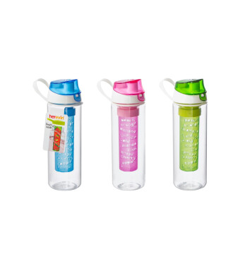0,65 lt Bottle with Fruit Infuser-Blue-Green-Pink-Tritan