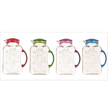 2,2 lt Fridge Jug with Letters - Clear Body + Mixed