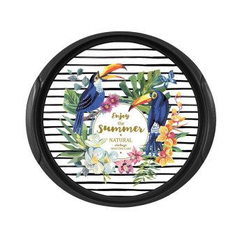 Decorated Round Tray-Tropical