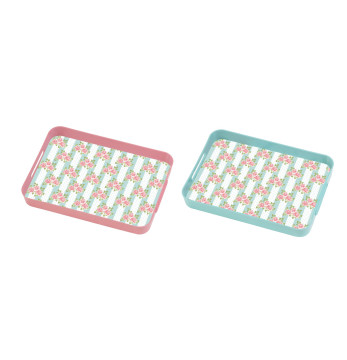 Decorated Rectangular Tray-Blue&Pink Mix